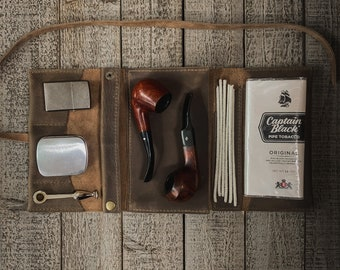Gray Kodiak Leather - Large Tobacco Pipe Pouch / Pipe Roll / Pipe Bag - Oiled Gray Finish with Removable Pipe Rest