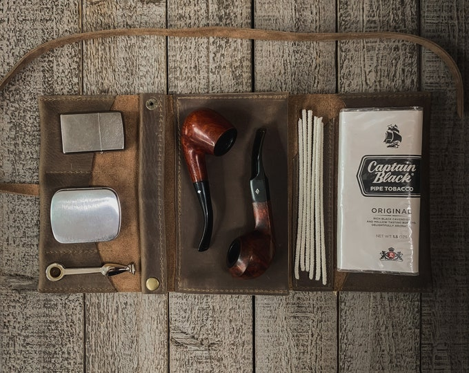 Featured listing image: Gray Kodiak Leather - Large Tobacco Pipe Pouch / Pipe Roll / Pipe Bag - Oiled Gray Finish with Removable Pipe Rest