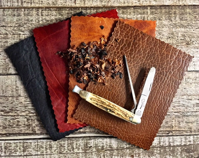 Featured listing image: Bison Leather Tobacco Mat in Various Colors and Finishes