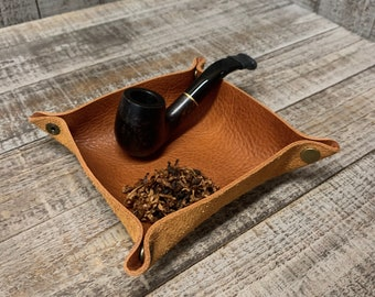 Montana - Travel Style Foldable / Rollable Tobacco Tray / Valet Tray Veg-Tanned Leather Tan Finish (for tobacco, pipe tools, change..)