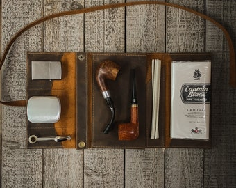 Laredo Leather - Large Tobacco Pipe Pouch / Pipe Roll / Pipe Bag - Oiled Laredo Finish with Removable Pipe Rest