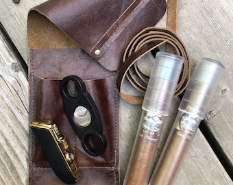 Cigar Traveler / Pipe Travel Pouch - Various Leather Options
