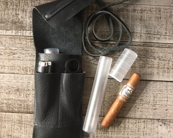 Bison / Buffalo Leather - Cigar Traveler / Pipe Travel Pouch