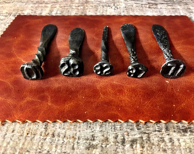 Featured listing image: Blacksmith Hand Forged Rustic Pipe Tampers and Railroad Date Tampers