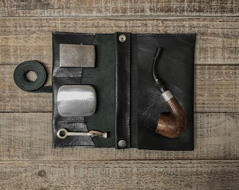 Black Bison / Buffalo Leather - Medium Tobacco Pipe Roll / Pipe Pouch - Apache Black with Removable Pipe Rest and Tobacco Tin