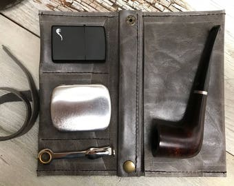 Small Tobacco Pipe Pouch / Pipe Roll / Pipe Bag - Smooth Grey Leather with Removable Pipe Rest and Tobacco Tin