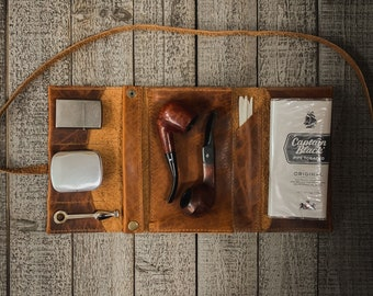 Bison / Buffalo Hide - Large Tobacco Pipe Pouch / Pipe Roll / Pipe Bag - Apache Brown Finish with  Removable Pipe Rest