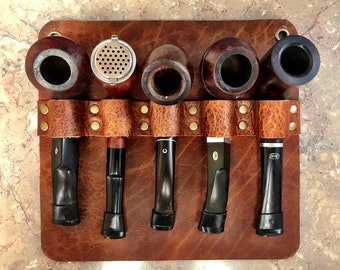 Bison / Buffalo Leather - Wall Mount 5 Pipe Rack / Pipe Holder / Pipe Bag - Apache Brown Finish with Brass