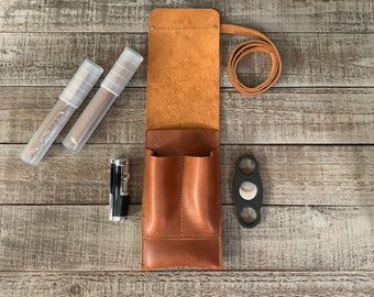 Montana - Cigar Traveler / Pipe Travel Pouch - Veg-Tanned Leather Tan Finish