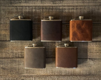 Leather Wrapped Pocket Flask with Funnel - Stainless Steel 6 oz.