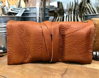 Tobacco Pipe Roll / Pipe Pouch - Soft Rust Brown Leather with Removable Pipe Rest and Tobacco Tin