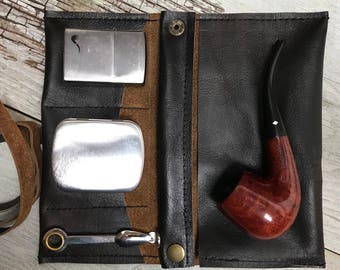 Small Tobacco Pipe Pouch / Pipe Roll /Pipe Bag - Black / Dark Brown Leather with Removable Pipe Rest and Tobacco Tin (suede strap)