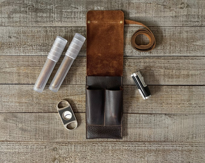 Featured listing image: Rustic Kodiak Leather Cigar Traveler / Pipe Travel Pouch - Oiled Dark Brown Finish