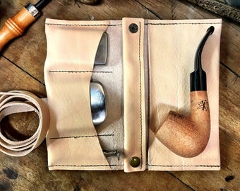 Tobacco Pipe Roll / Pipe Pouch - Natural Veg Tanned Leather with Removable Pipe Rest and Tobacco Tin