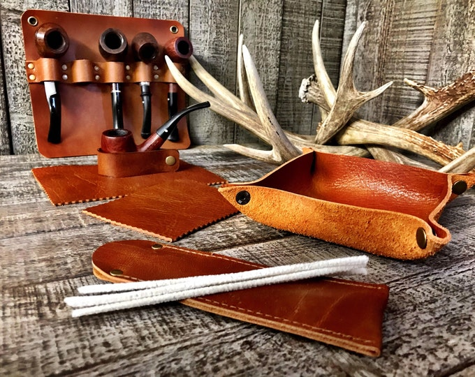 Featured listing image: Montana Brown Veg-Tan Cowhide - Pipe Rack, Valet Tobacco Tray, Pipe Cleaner Sleeve, Pipe Rest, Tobacco Mat