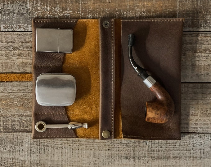 Featured listing image: Rustic Kodiak Leather - Medium Tobacco Pipe Pouch / Pipe Roll / Pipe Bag - Oiled Brown Finish with Removable Pipe Rest and Tin