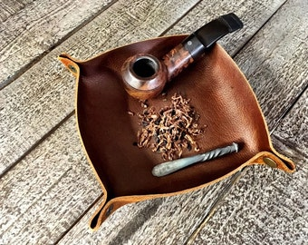 Rustic Kodiak Leather Travel Style Foldable / Rollable Tobacco Tray / Valet Tray (for tobacco, pipe tools, change..)