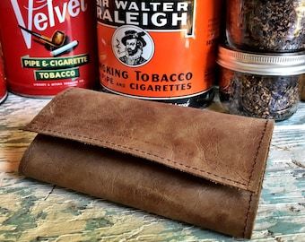 Tobacco Pouch / Tobacco Roll - Leather with Inside Coating in Various Colors and Finishes