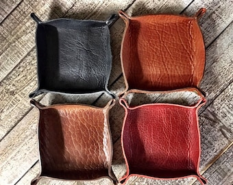 Bison Buffalo Leather Travel Style Foldable / Rollable Tobacco Tray / Valet Tray (for tobacco, pipe tools, change..)