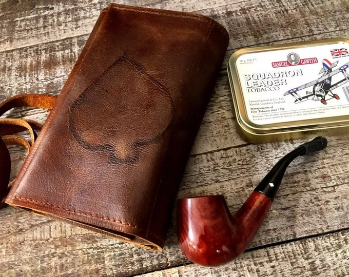 Featured listing image: Unique Spade Branded Rustic Kodiak Oiled Leather - Large Tobacco Pipe Pouch / Pipe Roll / Pipe Bag