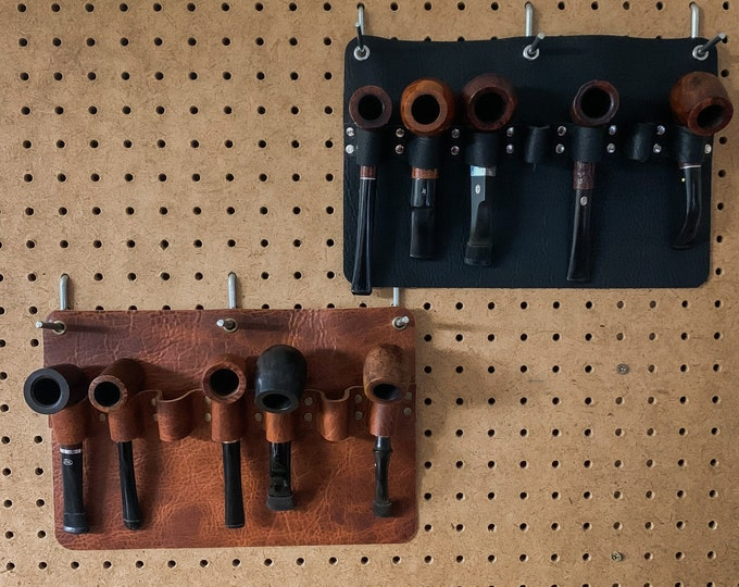 Featured listing image: Bison / Buffalo / Utility Leather Wall Mount 5 Pipe Rack / Pipe Holder / Wall Hanger
