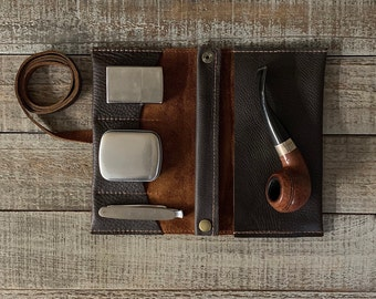 Rustic Kodiak Leather - Medium Tobacco Pipe Pouch / Pipe Roll / Pipe Bag - Oiled Dark Brown Finish with Removable Pipe Rest and Tin