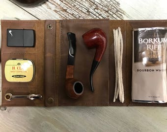 Large Tobacco Pipe Pouch / Pipe Roll / Pipe Bag - Smooth Mocha Light Brown Leather with  Removable Pipe Rest