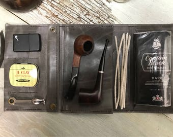 Large Tobacco Pipe Roll / Pipe Pouch / Pipe Bag - Smooth Grey Leather with  Removable Pipe Rest