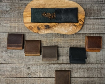 Small Tobacco Pouch / Roll - Leather with Inside Coating Various Colors and Finishes