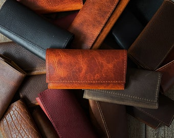 Large Leather Tobacco Pouch / Tobacco Roll - Multiple Leather Types