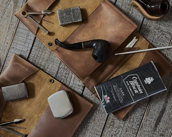 Light Stoned Oil Leather - Tobacco Pipe Pouch / Pipe Roll / Pipe Bag with Removable Pipe Rest