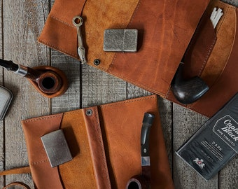 Montana - Tobacco Pipe Pouch / Pipe Roll / Pipe Bag - Veg-Tan Leather - Montana Tan Finish with Removable Pipe Rest