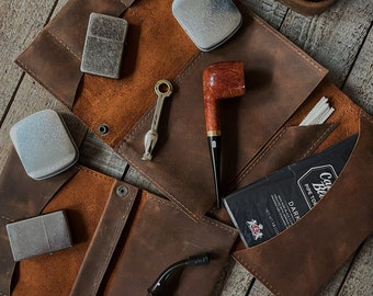 Laredo Leather - Tobacco Pipe Pouch / Pipe Roll / Pipe Bag - Oiled Laredo Finish with Removable Pipe Rest
