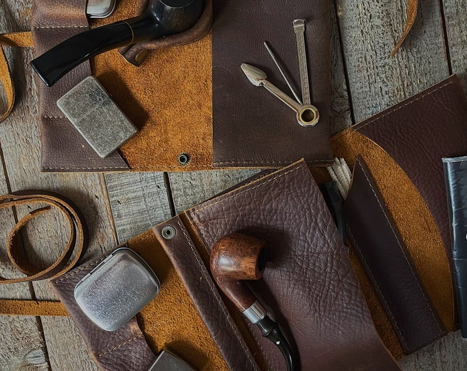 Featured listing image: Rustic Kodiak Leather - Tobacco Pipe Pouch / Pipe Roll / Pipe Bag - Oiled Brown Finish with  Removable Pipe Rest