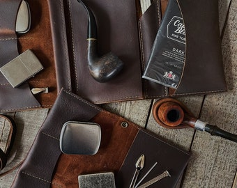 Rustic Kodiak Leather - Tobacco Pipe Pouch / Pipe Roll / Pipe Bag - Oiled Dark Brown Finish with  Removable Pipe Rest