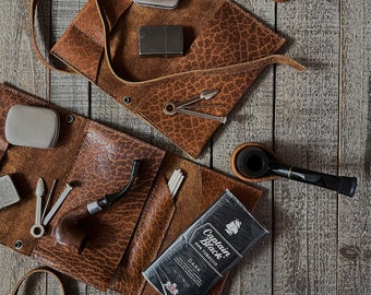 Bison Buffalo Leather - Tobacco Pipe Pouch / Pipe Roll / Pipe Bag - Tucson Brown Finish with Removable Pipe Rest