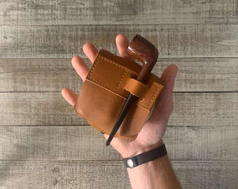 The Tin Wrap. Leather Tin Wrap Travel Style (holds tobacco, lighter, and pipe tool)