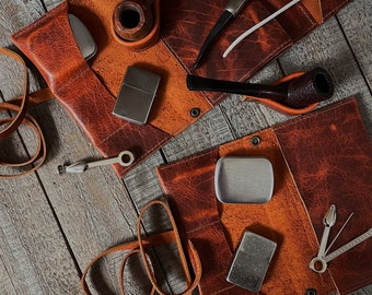 Bison Buffalo Leather - Tobacco Pipe Pouch / Pipe Roll / Pipe Bag - Navajo Rust Finish with Removable Pipe Rest
