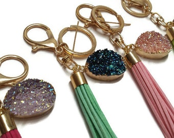 Tassel Keychain with Druzy Resin Pendant
