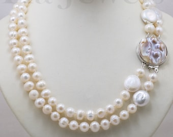 Two-strands real pearl necklace, mother-of-pearl closure, women's necklace, Italian necklace