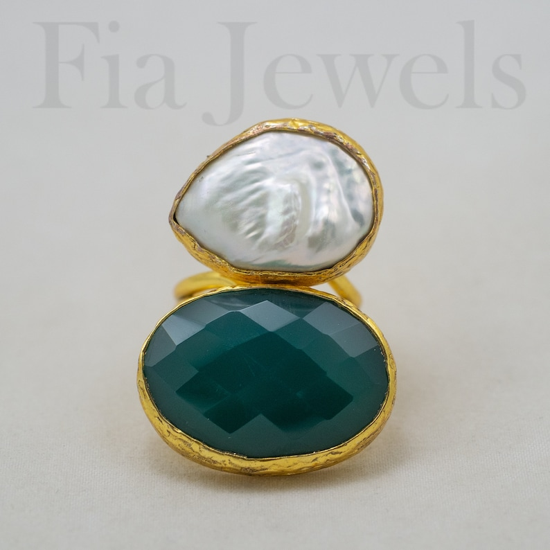 Natural pearl ring brass faceted emerald root adjustable ring Italian ring
