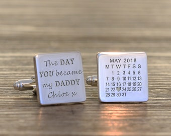Father/'s Day Love You To The Moon And Back Personalised Wooden Cufflinks Engraved with Initials  Valentines Gift Birthday