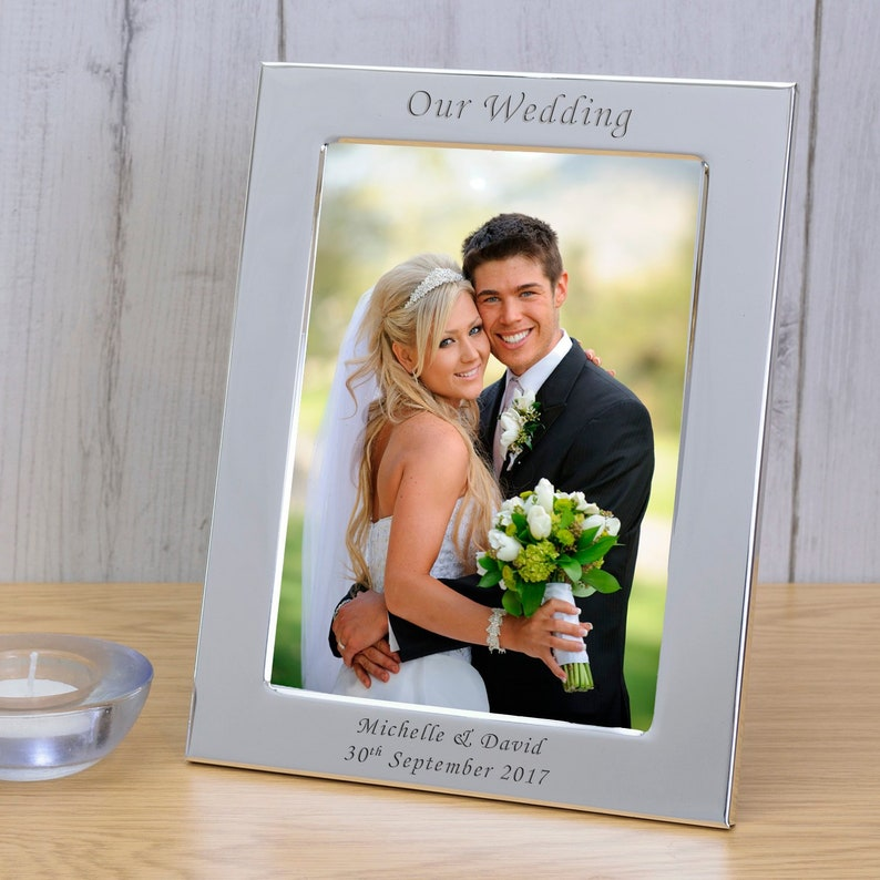 Personalised Engraved  Our Wedding Silver Plated Photo Frame Custom Message Bride Groom Gift Couple Mr /& Mrs Our Wedding Day
