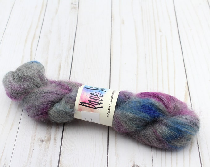 hand dyed yarn, mohair/Silk Wool 70/30 for crochet, Knitting.