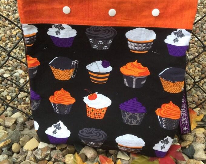 Knitting yarn project bag, crochet project bag, halloween bag crochet bag, knitting accessories gift for knitter cupcake