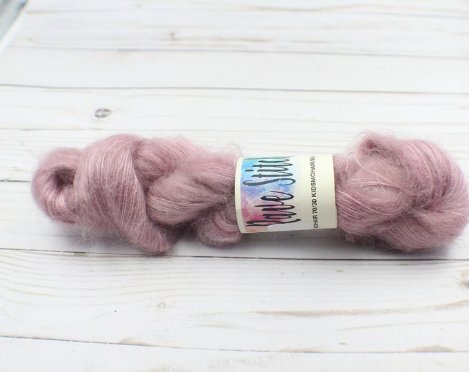 hand dyed yarn,  mauve mohair/Silk Wool 70/30 for crochet, Knitting