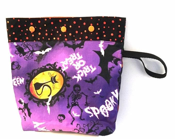knitting project bag, crochet project bag, halloween bag, yarn tote, sock knitting bag, knitting accessories, knitting bag