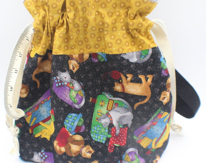 drawstring bag, knitting, crochet , cat theme  project bag, yarn bag 9x 10.5  inches
