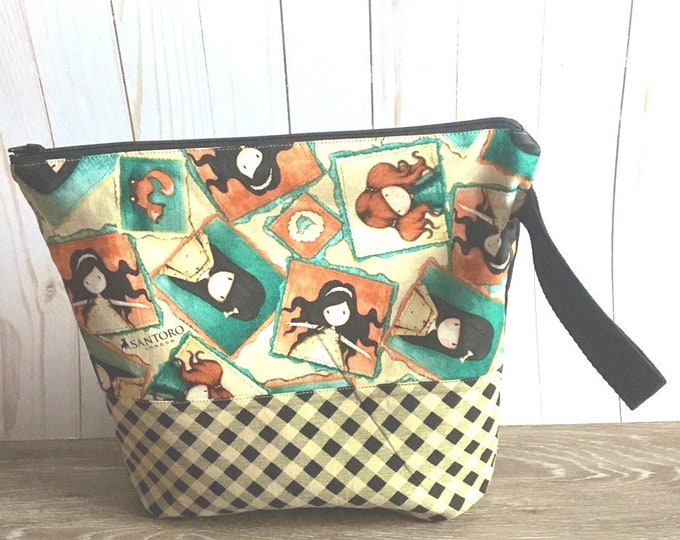 project bag for knitters, crochet, sewing projects, travel bag 12x12 inches