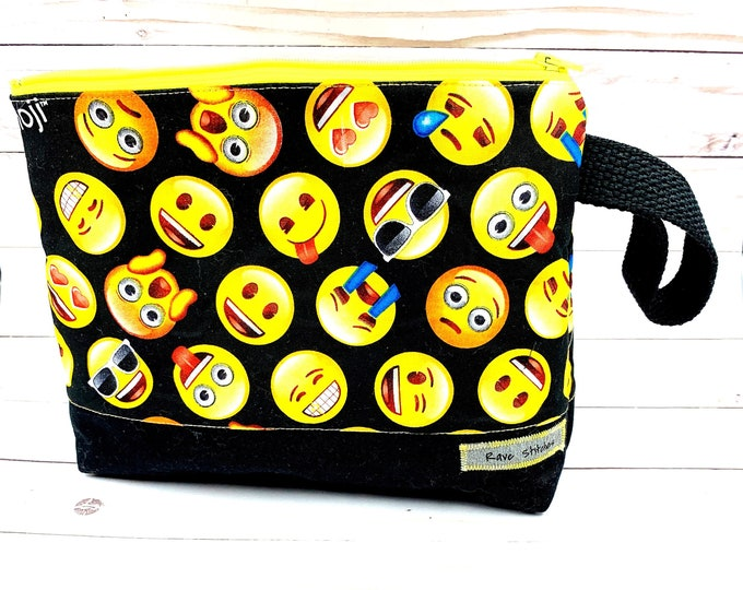 Sock knitting project bag,  emoji theme small zipper pouch ,knitting crochet project bag 10x9 inches